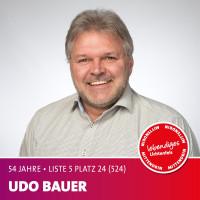Udo Bauer Alter: 54 Jahre | Beruf: Logistikleiter Ich bin in vielen Schneyer Vereinen tätig. Daher möchte ich zuhören, aktiv nach Lösungen suchen und mich für die Umsetzung Ihrer Anliegen stark machen.