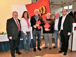Ehrungen (von links nach rechts): Klaus Adelt, Elke Werner, Fritzi Schöpf, Bernhard Schöpf, Rudi Breuning, Sebastian Müller